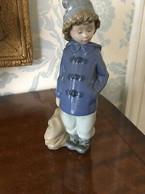 Nao By Lladro Boy With Satchel/Bag - Damaged