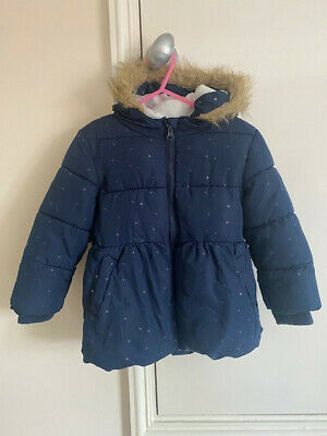 Primark Girls Coat / Jacket age 2-3 98cm blue with silver hearts coat