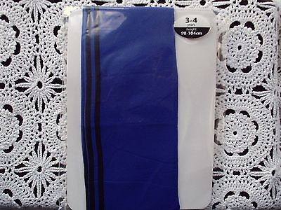 NEW 40 Denier Plain Knit Tights with Side Stripes - ROYAL/BLACK 3-4 years