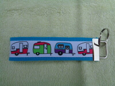 "Camper Retro Travel Trailer Design 5"" Key Chain Fob Wristlet Teal/Turquoise Blue"