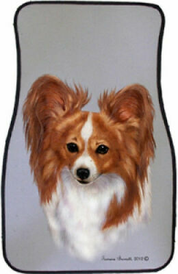 Red and White Papillon Car Floor Mats Pair (TB) 36064