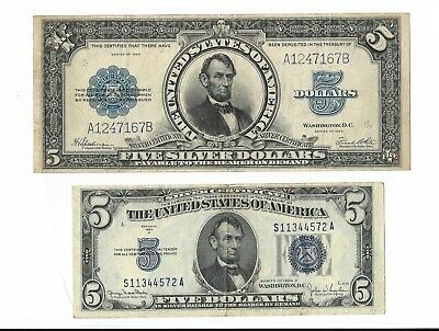 1923 $5 Dollar Silver Certificate Porthole Note Fr.282 & $5 Note 1934 [2 Notes]