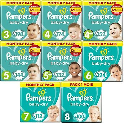 Pampers Baby-Dry, Monthly Saving Pack, Size 3, 4, 4+, 5, 5+, 6, 7 and 8