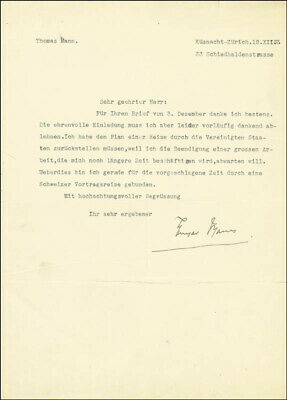 Thomas Mann - Typed Letter Signed 12/12/1933