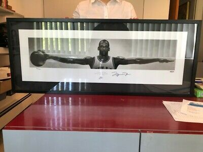 "MICHAEL JORDAN Autographed Chicago Bulls ""Wings"" 41 x 17 Nike Poster UDA FRAMED"