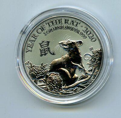 2020 Great Britain 1 Oz Silver 2Pd Year Of The Rat - Comes In A Plastic Capsule