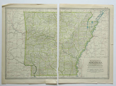 ARKANSAS Map The Century Atlas 1897 Plate No. 44 Antique 16 x 11 Inch AR