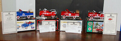 Die Cast Pedal Car Texaco - Hook & Ladder- Red Crown Stake Truck Bank LOt (4)