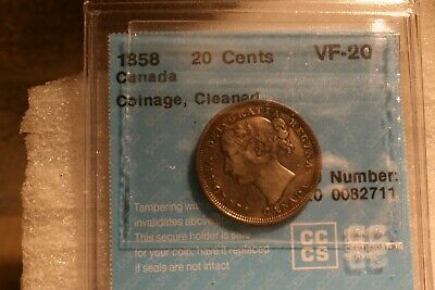 1858 Canada 20 Cents - G Four - CCCS -VF Twenty - Cleaned