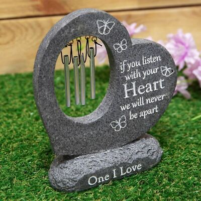 Graveside Stone Heart Wind Chime, Thoughts Of You Memorial Plaque,Grave Ornament