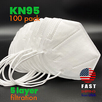 [100 PACK] KN95 Disposable Protective Face Mask 5-LAYERS CE/ECM Certified Safety