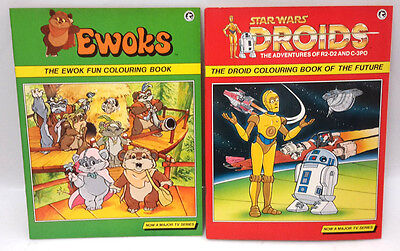Original 1987 Star Wars Droids & Ewoks Coloring Book Set of 2-UNMARKED/UNCOLORED