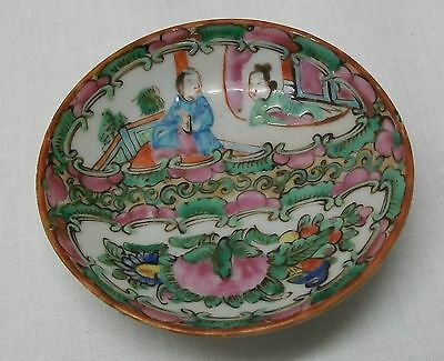 Chinese Small Footed Trinket Dish Condiment Bowl with Man Bird Flowers Antique