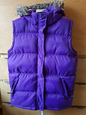 Girls  Mountain Warehuouse Padded Gilet Purple, Detachable Hood 13 Years