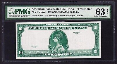 """1929 10 Units American Bank Note Company """"Test Note"""" (Choice Unc 63 EPQ) PMG"""