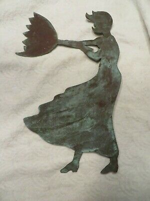Vintage Copper Weathervane Topper Lady with Umbrella