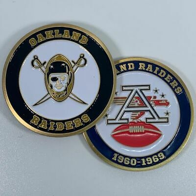 Oakland Raiders Afl Nfl 1960-1969 Commemorative Football Challenge Coin