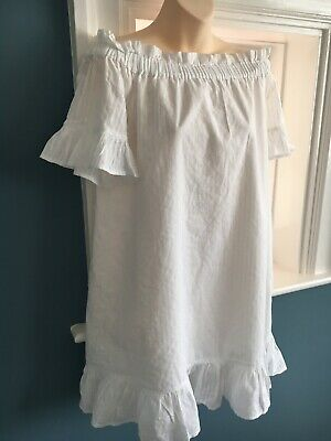 River Island White Cotton Oversized Bardot Dress Size 12, Smock