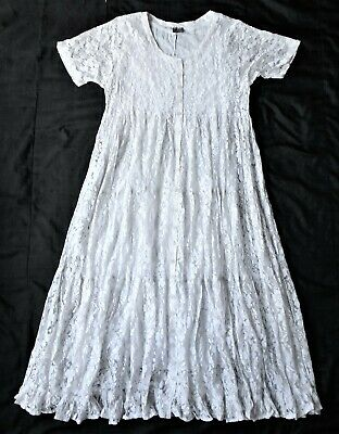 Vintage 80s/90s long dress in grey lace fabric - tiered A line grunge style