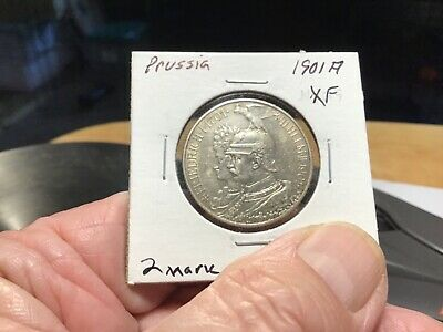 1901A. Prussia Silver 2 Mark, Nice Extra Fine!