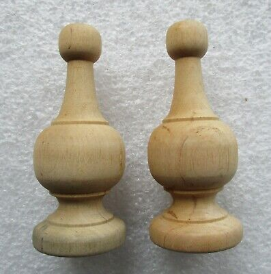 """PAIR PINE URN STYLE FURNITURE FINIALS  4 1/2"""" high NEW OLD STOCK UNFINISHED"""