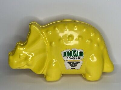 Vintage Evco Pencil Box Case Yellow Dinosaur Shaped