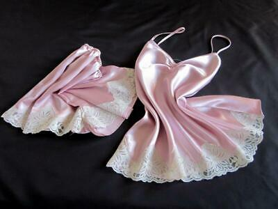 Womens Cami Pyjamas French Knickers Set S Short PJs Pink Satin Camisole Panties