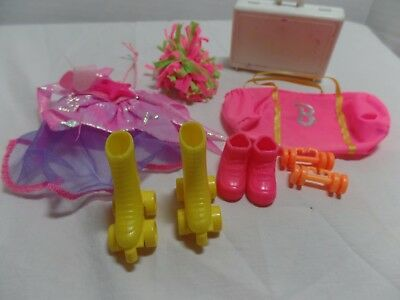 Barbie Doll Sports Exercise Accessories LOT Skates Shoes Suitcase Weights Bag