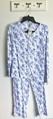 NEW Charter Club Blue Roses Button Up Cotton Pajama Set NWT S Toile