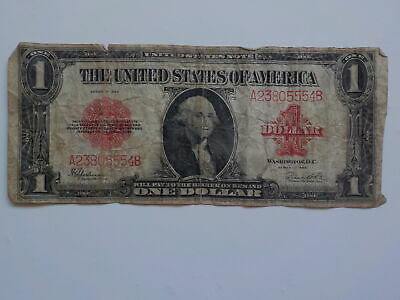 Currency Note 1923 1 Dollar Bill Red Seal Currency Paper Money Large VTG USA NR
