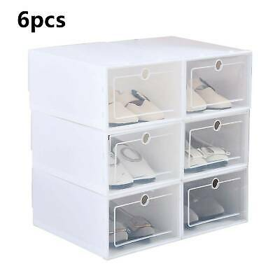 6x Clear Plastic Shoe Storage Boxes Drawer Durable Stackable Foldable Organiser
