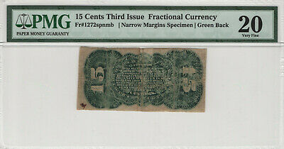 15 Cents Third Issue Fractional Currency Fr.1272 Narrow Specimen Pmg Vf 20