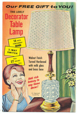 DECORATOR TABLE LAMP - Kitschy 1950's Ad Postcard RICH BEAUTY to Any HOME!