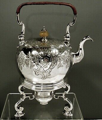 English Sterling Tea Kettle & Stand        1728 King's Goldsmith