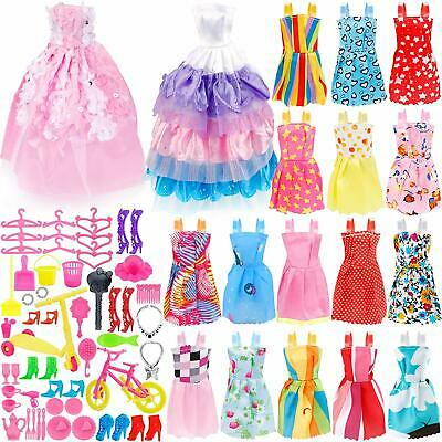 73PCS Doll Clothes Party Gown Shoes Bag Necklace Hanger Toy Accessories Gift