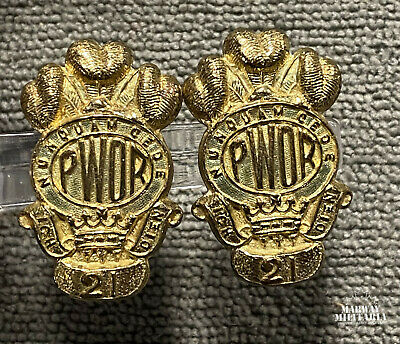 Prince of Wales Own Kingston Regiment Collar Badge Pair (23169)