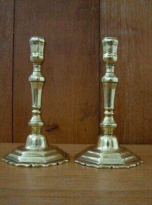 """Antique Pair Of Cast Brass , 8"""" Tall French (?) Candlesticks ."""