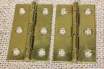 "2 Old Cabinet door hinges 2 x 1 1/4"" shutter jewelry box vintage satin brass"