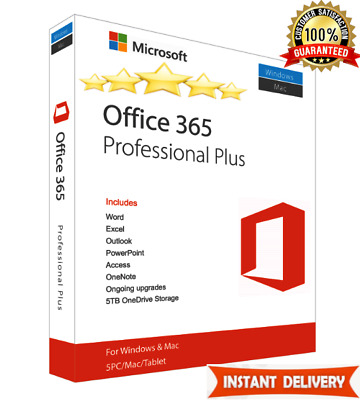 MS Office 365 PRO Plus 2016/2019 ✅Lifetime License for 5 Users ✅New Account