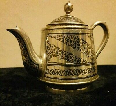 Superb Solid Silver Niello  RussianTea Pot, 19/20 C, marked KXK4