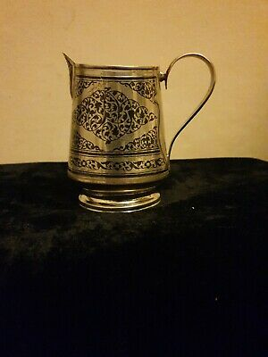 Superb Solid Silver Niello  Russian milk/cream jar. 19/20 C, marked KXK4