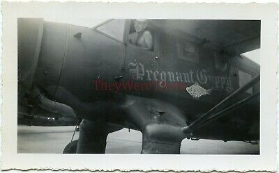*WWII photo- STINSON AT-19 / SR RELIANT Allied plane Nose Art- PREGNANT PUGGY*