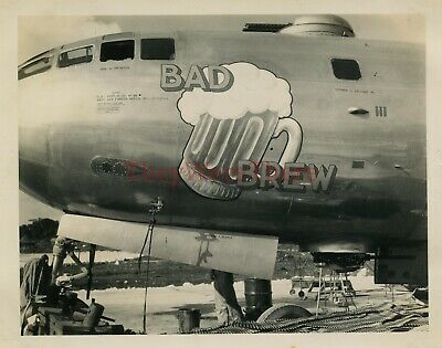 *WWII photo- B 29 Superfortress Bomber plane Nose Art - BAD BREW*