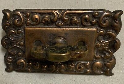 Copper plate cabinet cupboard door latch twist turn thumb ornate metal vintage
