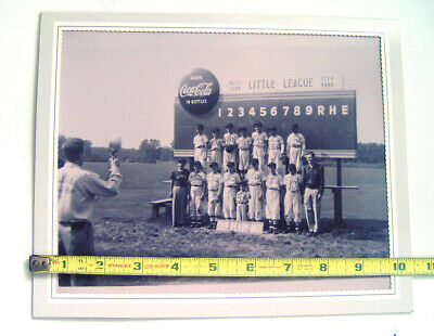 Drink Coca Cola  In Bottles Advertising Sign Little League Baseball B&W Photo