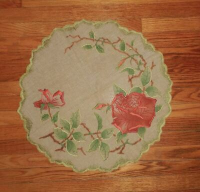 Vintage Arts & Crafts Linen Poppies Roses Embroidery Textile Scalloped Mission