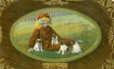 Dog Tuck Postcard Foster Mother Girl & 4 Fox or Jack Russell Terrier Pups c1908