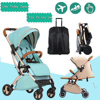 Green Foldable Baby Stroller Pram Compact Lightweight Travel Carry-on Plane