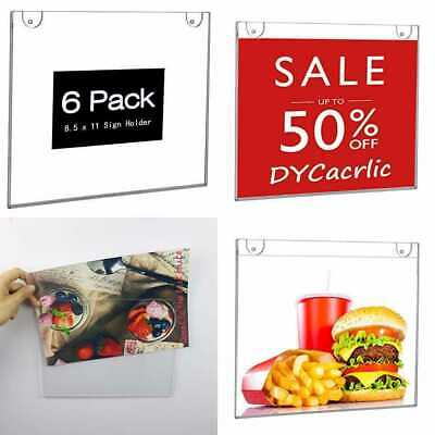 6 Pack Wall Mount Sign Display Holder 11 X 8.5 For Store Office Paper Document S