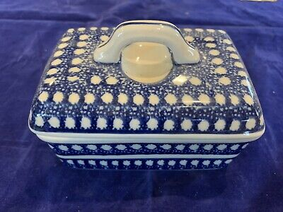 Boleslawiec Polish Pottery Lidded Handled Tea Trinket Box - SIgned- Orig sticker